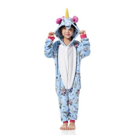 Blue Pattern Unicorn Onesie Pajamas Animal Kigurumi Costumes for Kids