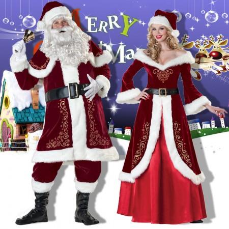 Christmas Santa Claus Suit Costume Full Sets & Mrs Claus Dress Outfit