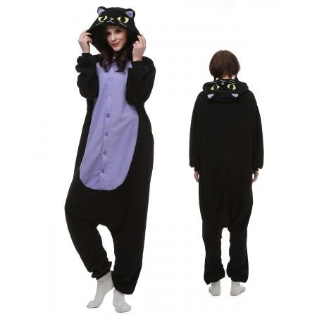 Midnight Cat Kigurumi Onesie Pajamas Animal Costumes For Adult