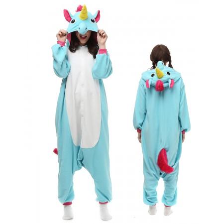 Blue Unicorn Kigurumi Onesie Pajamas Animal Costumes For Adult