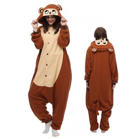 Brown Monkey Kigurumi Onesie Pajamas Animal Costumes For Adult
