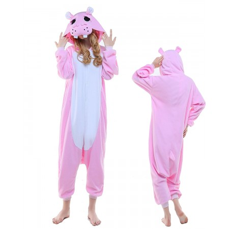 Pink Hippo Kigurumi Onesie Pajamas Animal Costumes For Adult