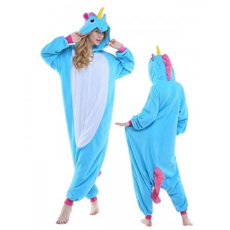 New Blue Unicorn Kigurumi Onesie Pajamas Animal Costumes For Adult