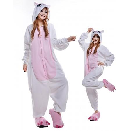 White Cat Kigurumi Onesie Pajamas Animal Costumes For Adult