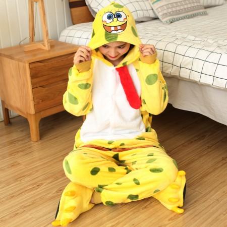 Spongebob Onesie Halloween Costumes for Adult Kids Unisex