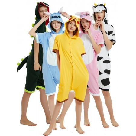Adult Pikachu/Dinosaur/Stitch/Cow Onesie Summer Pajamas Short Sleeve Jumpsuit