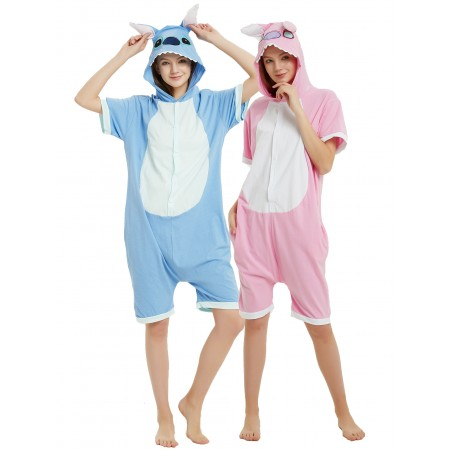 Adult Stitch & Angel Onesie Summer Pajamas Short Sleeve Jumpsuit
