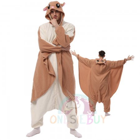 Mens Flying Squirrel Onesie Halloween Costumes Outfit Unisex