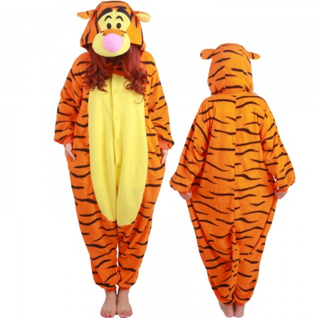 Winnie The Pooh Tigger Costume Onesie Pajamas For Adult & Teens Animal Costumes