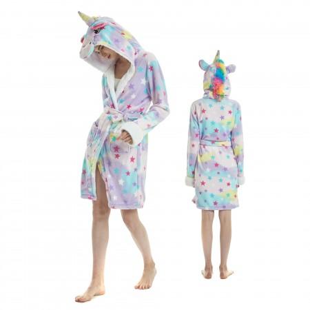 Dream Unicorn Bathrobe for Adult Kigurumi Animal Womens Hooded Robe Pajamas