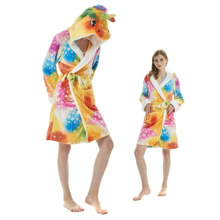 Colorful Dream Unicorn Bathrobe for Adult Kigurumi Animal Womens Hooded Robe Pajamas