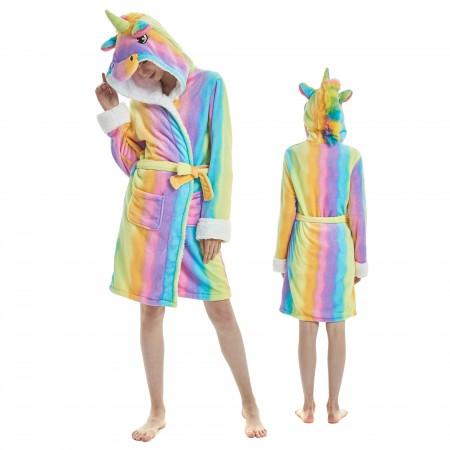 Rainbow Unicorn Bathrobe for Adult Kigurumi Animal Womens Hooded Robe Pajamas