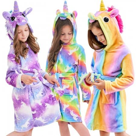 Best Unicorn Gifts For Girls - Christmas Gifts Soft Unicorn Hooded Bathrobe Sleepwear