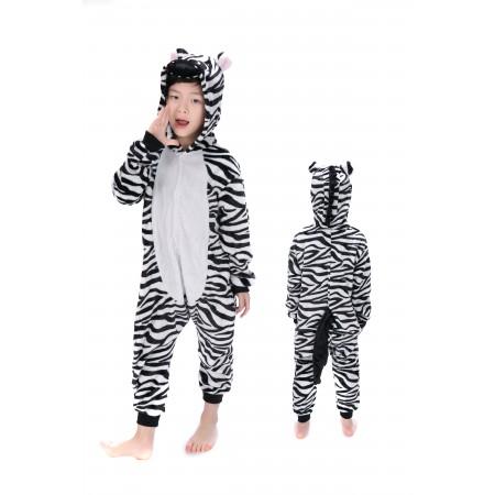 animal kigurumi black white Zebra onesie pajamas for kids